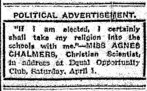 Political advertisement used to sabotage Chalmers, Grand Rapids Herald, April 3, 1911.