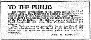Grand Rapids Herald, April 4, 1911.