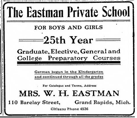 Advertisement for the Eastman Private School, Grand Rapids Herald, September 6, 1908.
