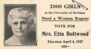 Etta Comstock Boltwood 1927 UofM Regent Ad