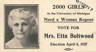 1927, Etta Comstock Boltwood, University of Michigan Board of Regents Ad