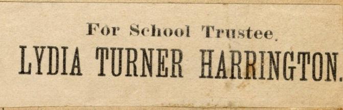 Lydia Turner Harrington School Board Ad, Emily Burton Ketcham Scrapbook, Grand Rapids Public Library