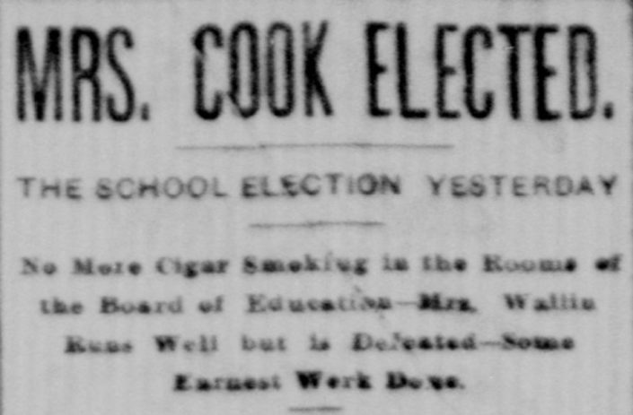 "September 4, 1888, ""Mrs. Cook Elected."" Grand Rapids Herald"